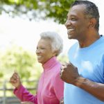 senior adult running walk pain