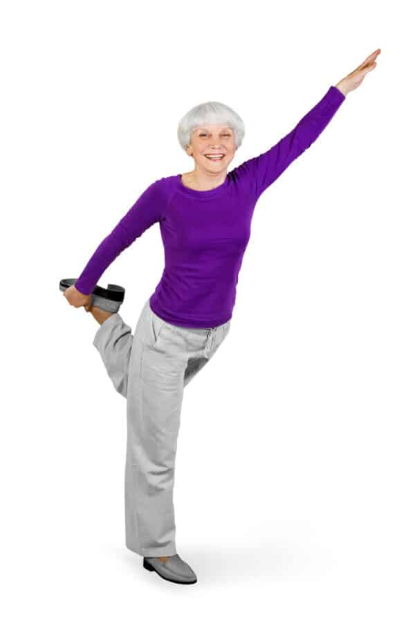 Older woman practicing flexibility