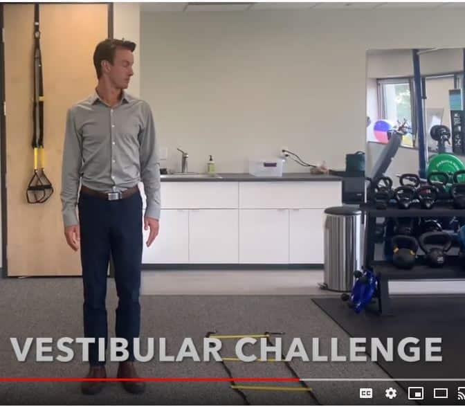 Dr. Patrick Donovan of Heather Lane PT demonstrates balance test